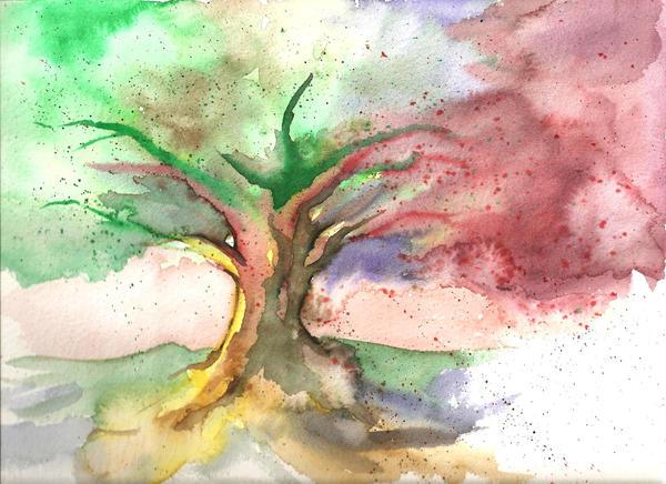 arbol de acuarela by fidodido69