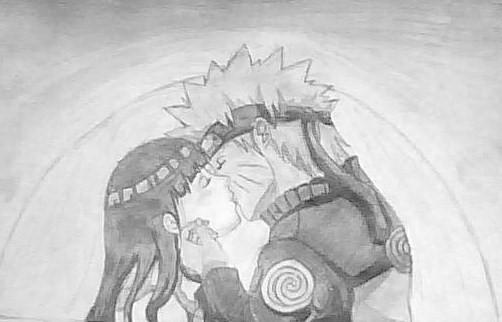 Naruto and Hinata Kissing by Nelphyta