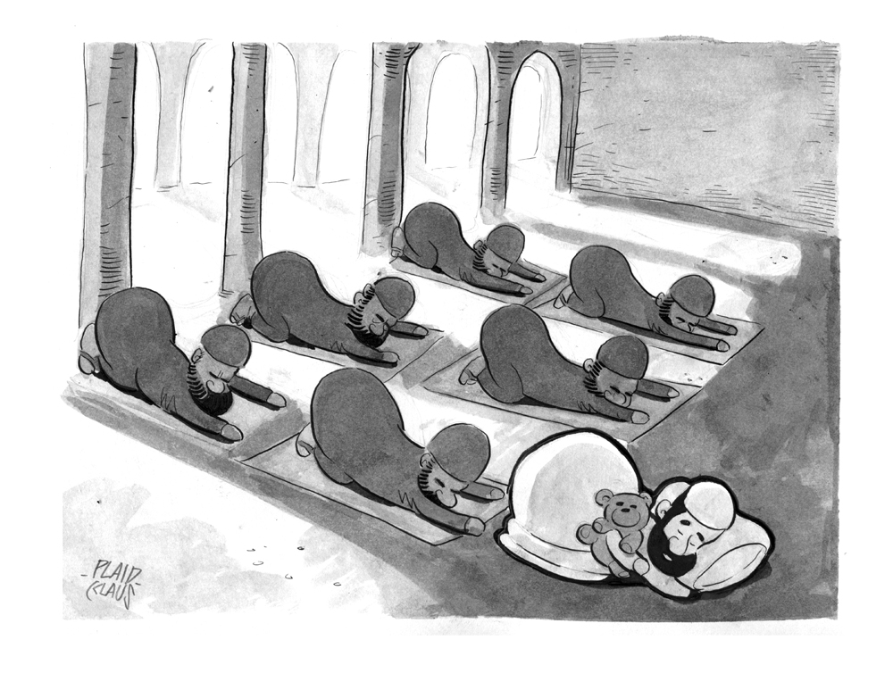 Cartoon - Prayer Nap by plaidklaus