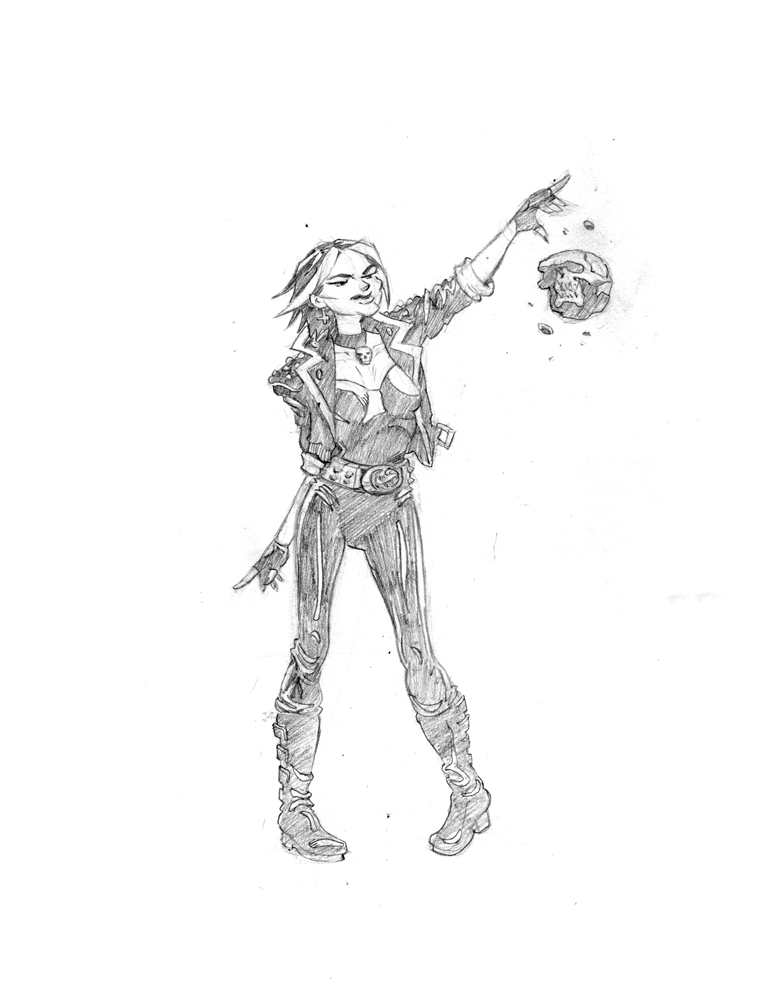 Glimmer Society - Concept Art: Valentine (Pencils) by plaidklaus