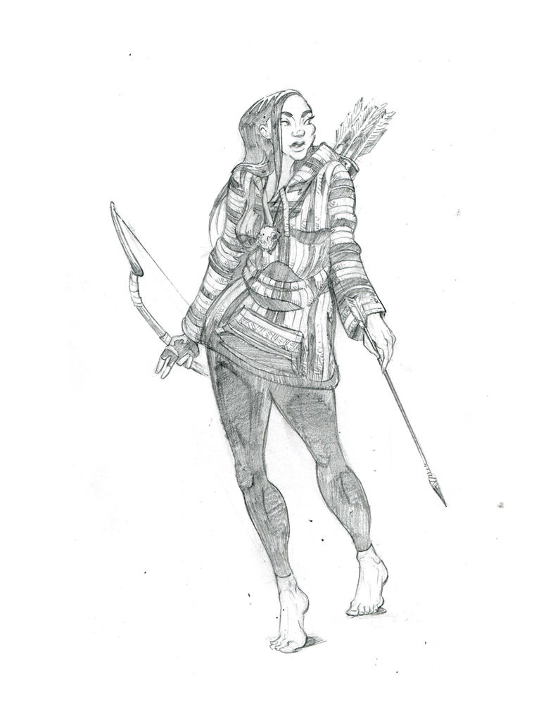 Glimmer Society - Concept Art: Tessa (Pencils) by plaidklaus