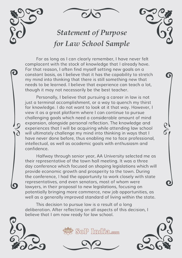 Statement Of Purpose For Law School Sample By Sopsamplesindia On