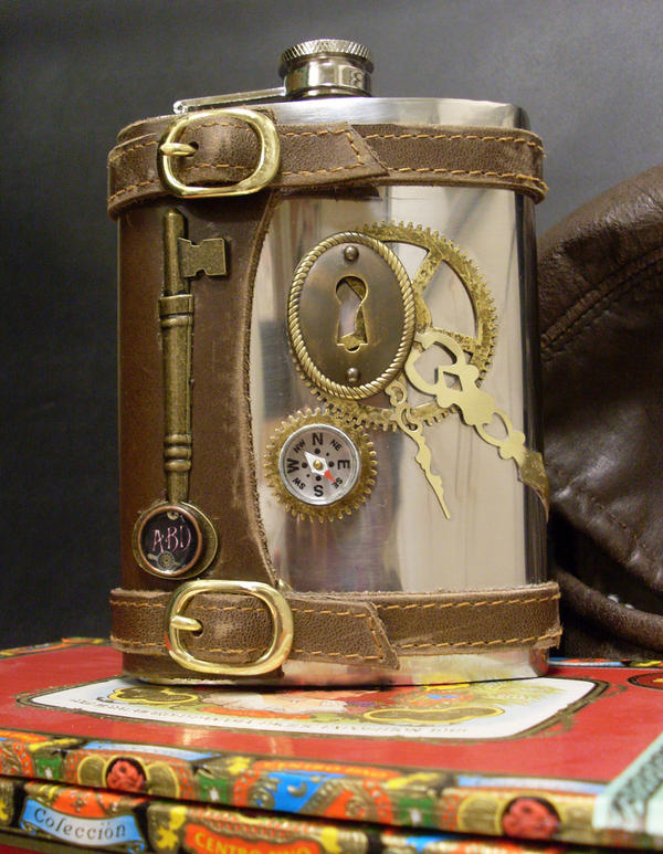 Steampunk flask with key by Justenjoyinglife