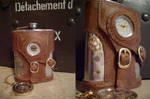 Steampunk Flask with clock