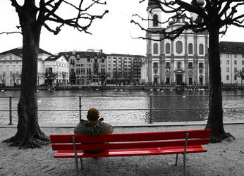 man on bench by spindelero
