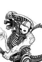alien vs jason sketch by mastaczajnik