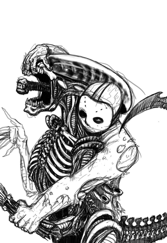 predator vs jason coloring pages - photo#15