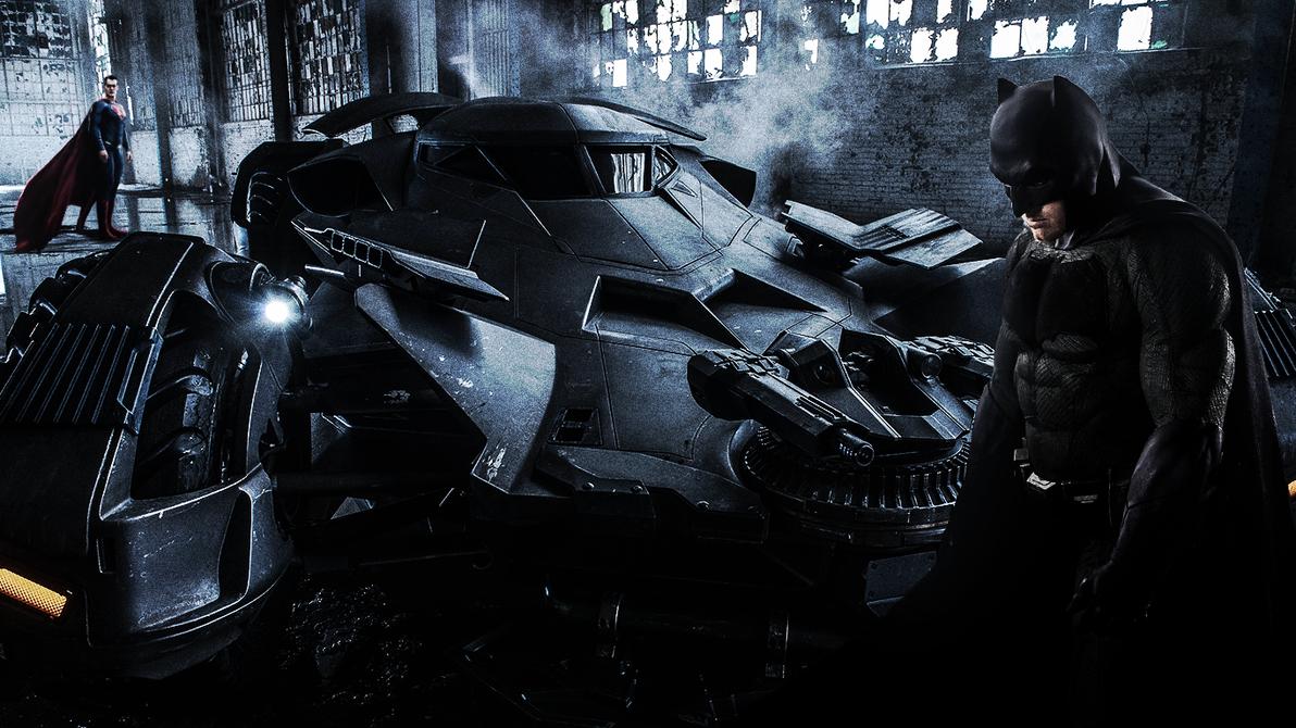 BvS batmobile warehouse superman batman by djpyro229