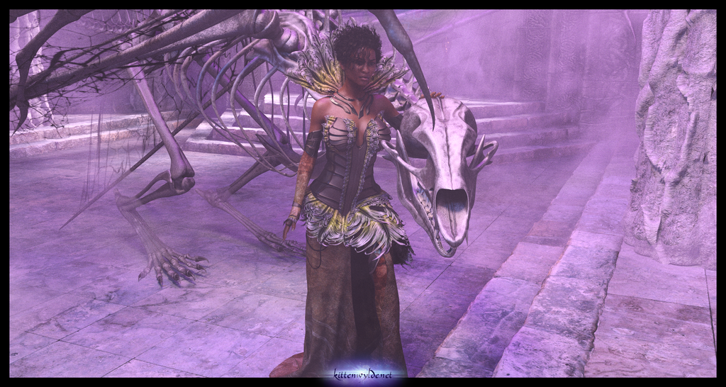 Walking With A Wyvern Skeleton by kittenwylde