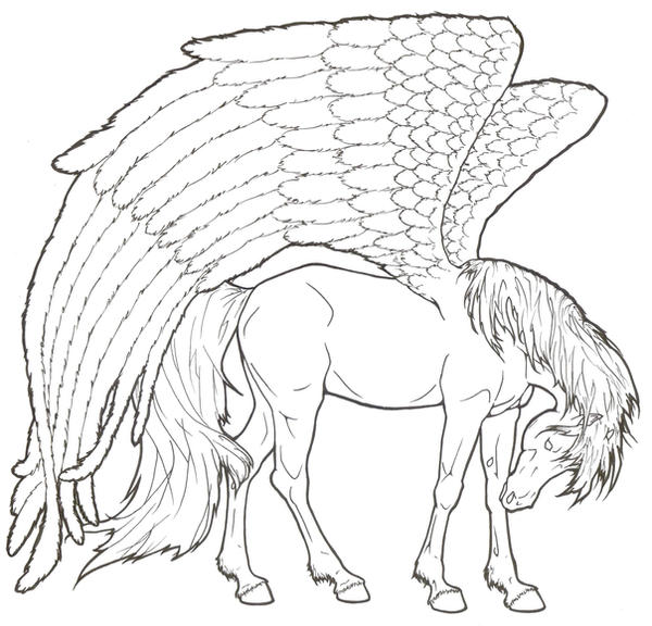 Pegasus by requay on deviantart for Pegasus coloring pages
