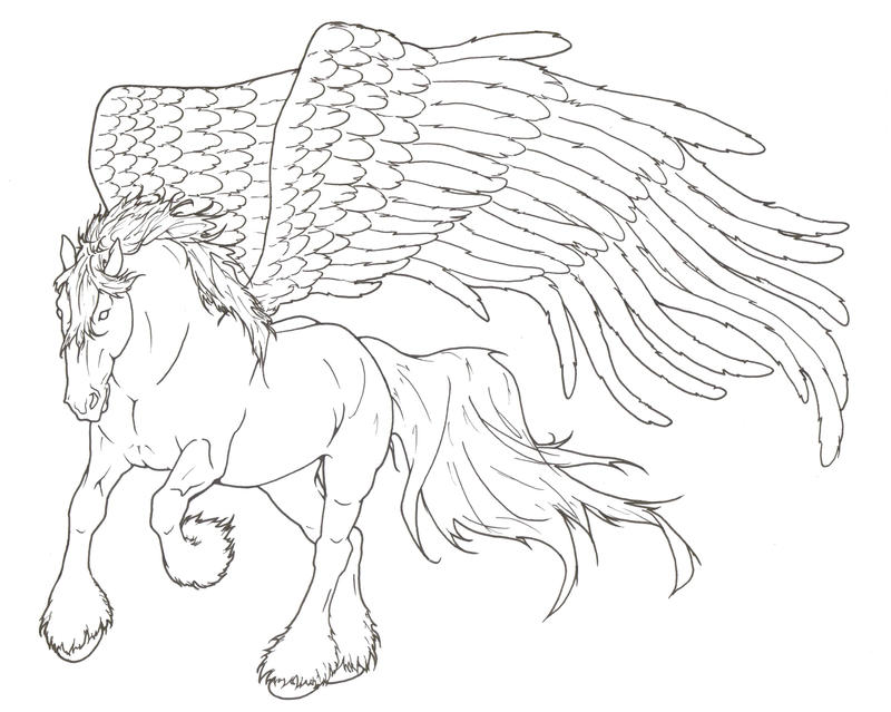 Pegasus lineart by requay on deviantart for Pegasus coloring pages