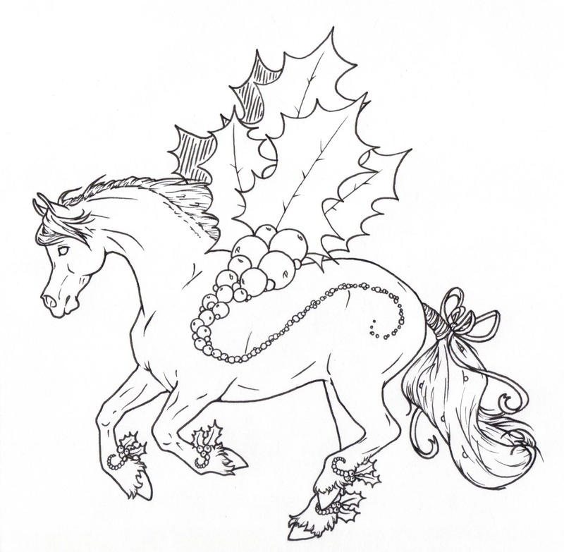 christmas horse coloring pages holly jolly christmas lines by requay on deviantart