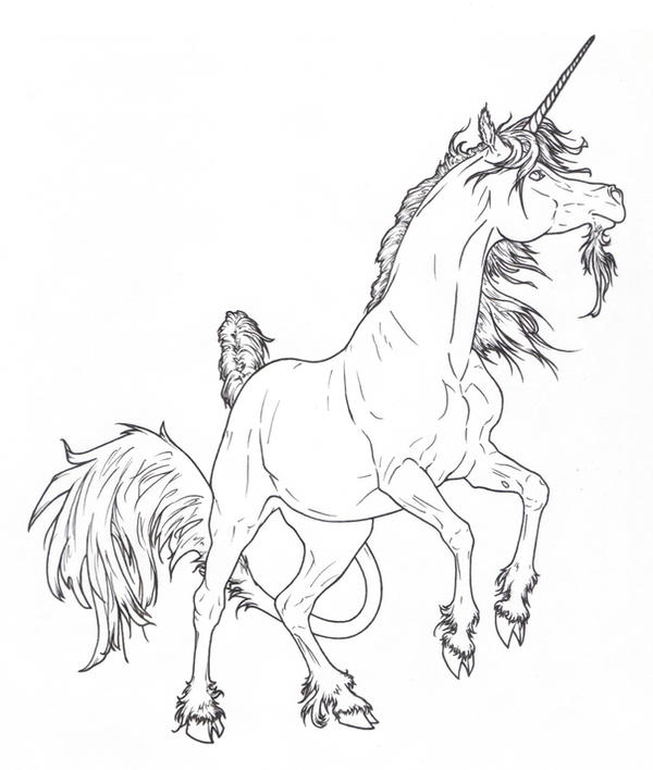 Line Drawing Unicorn : The gallery for gt rearing unicorn drawing