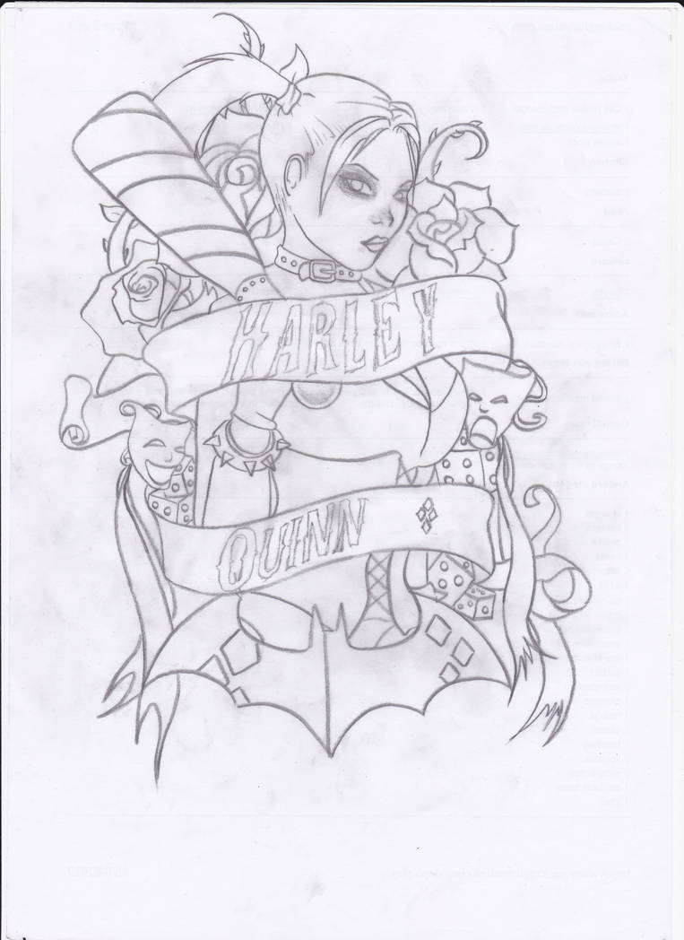Harley Quinn Tattoo Design Outline By Twistedsensibility On