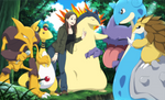 One more step lady and lapras gets it..