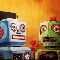 Robots in love by BenBoyceArt