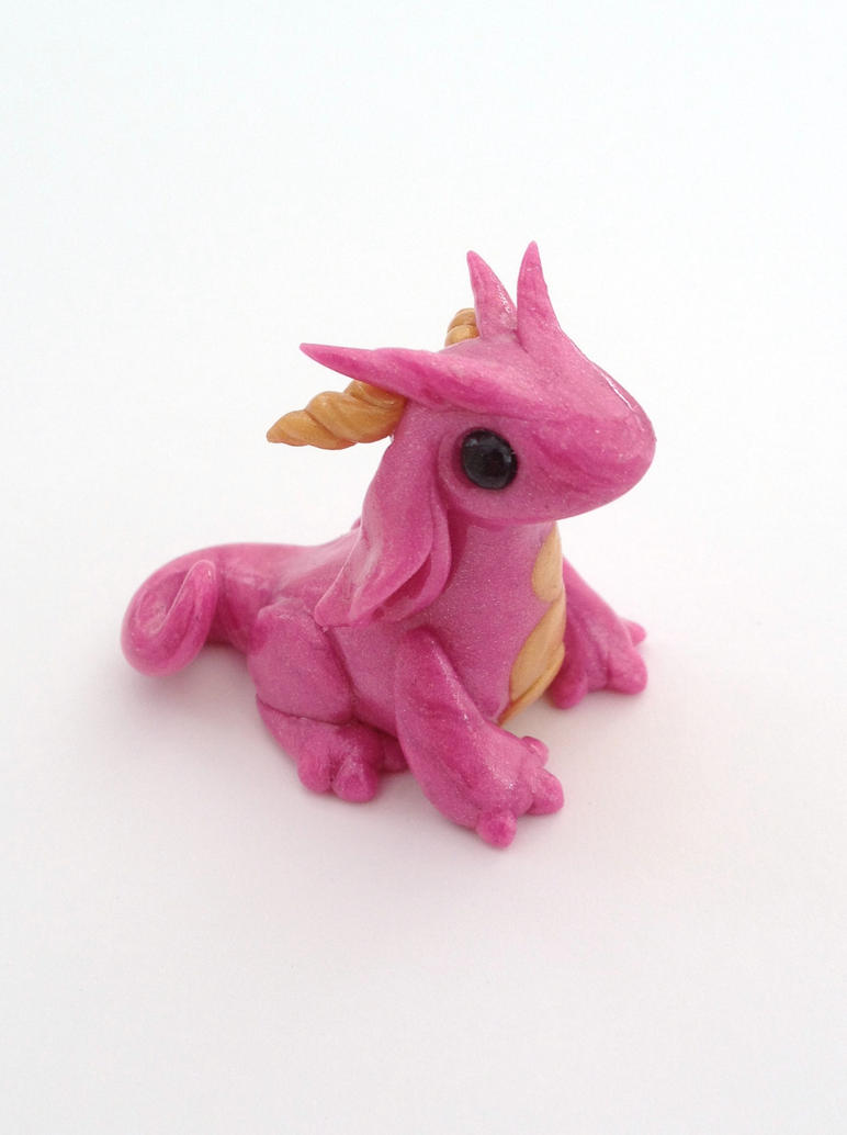 Pearly Pink Gold-bellied Dragon by Liluri-Creations