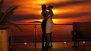 Liara and Kayla: Sunset kiss