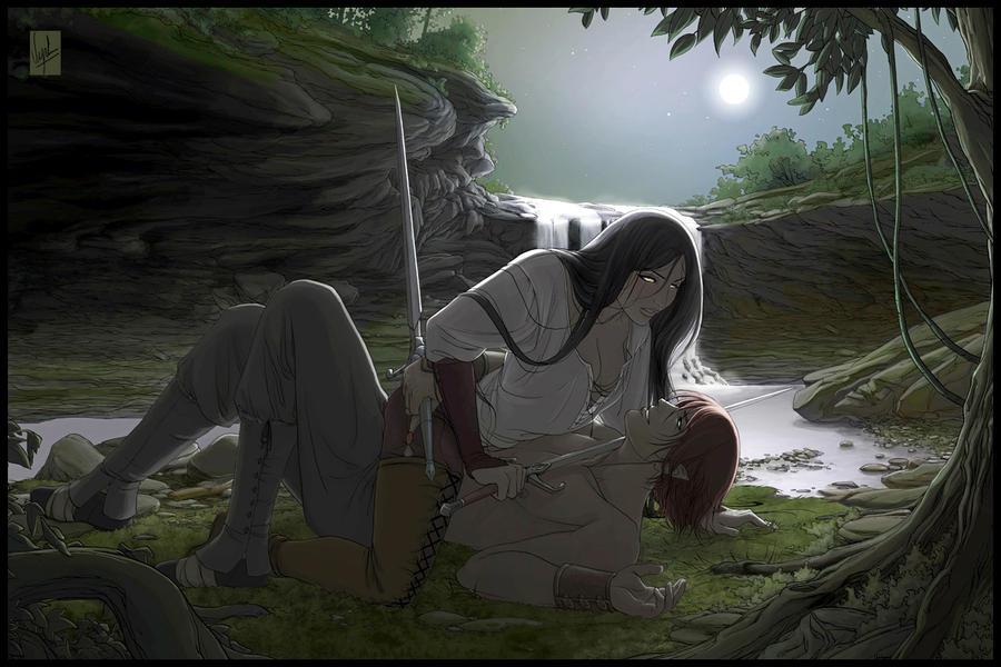 Arcea - Duel in the moonlight by Vyrhelle-VyrL
