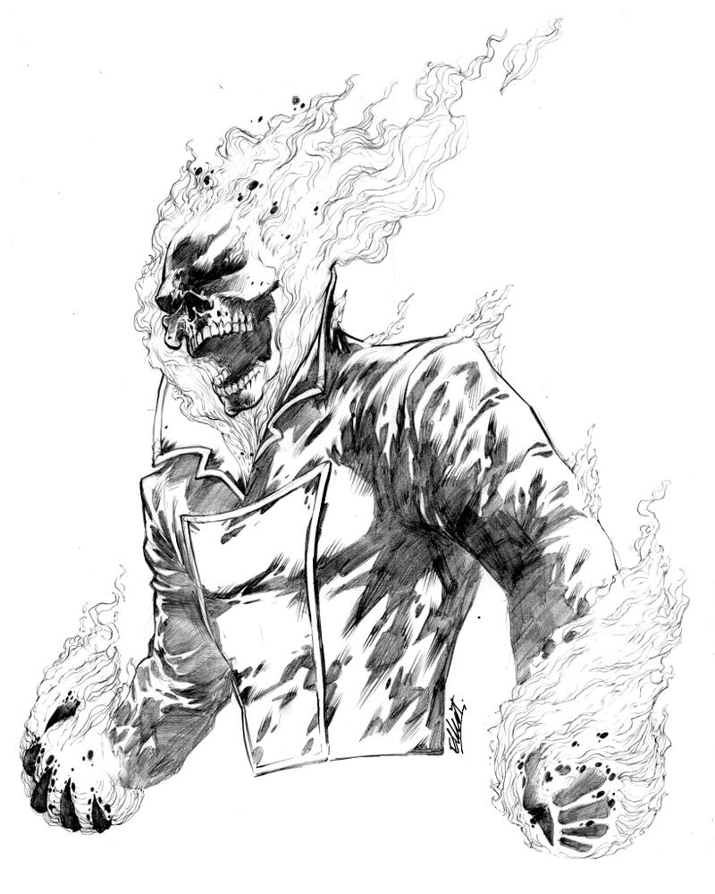 how to draw ghost rider head