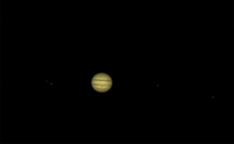 Jupiter, it's red spot, and moons by phrostie
