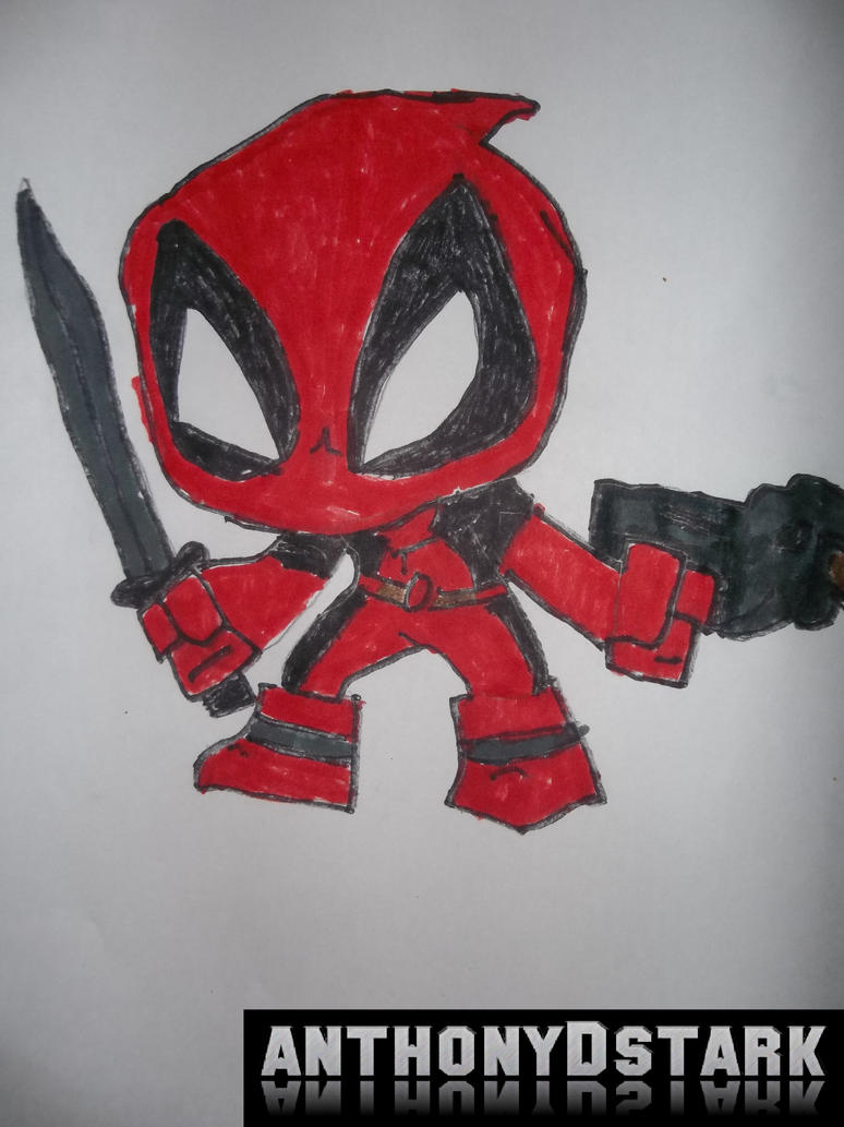 my chibi deadpool drawing by anthonydstark on deviantart