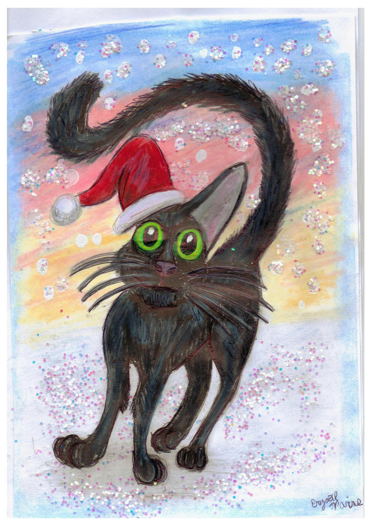 Lilly the Christmas Kitty - X-mas Card by CrystalMarineGallery