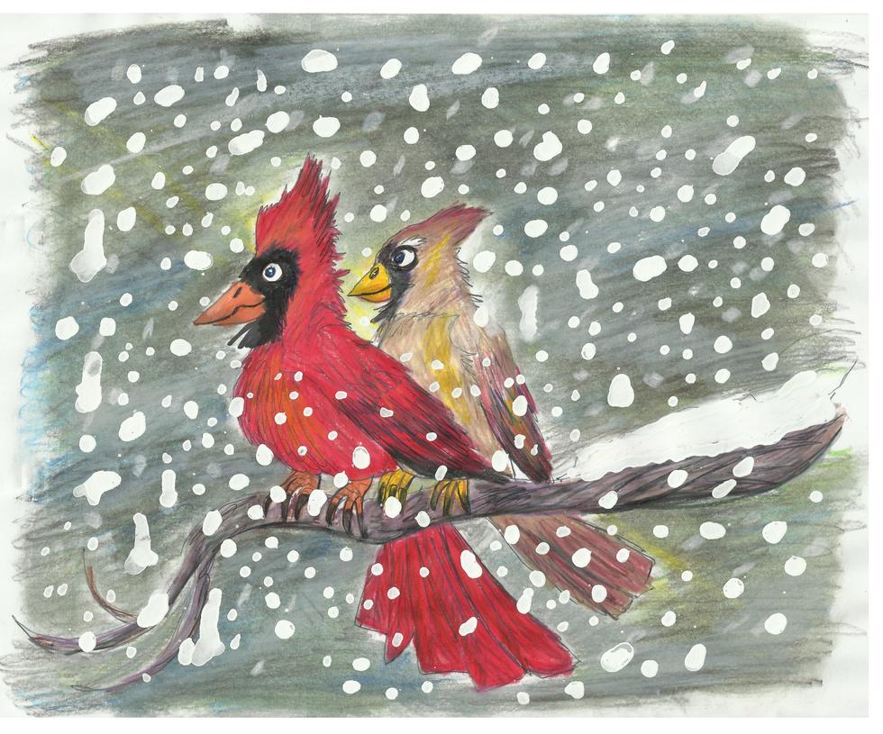 Keeping Warm - Cardinals by CrystalMarineGallery