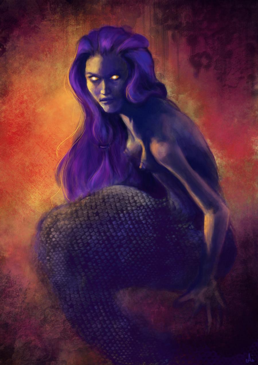 Dark Mermaid Art Dark mermaid by AiDera...