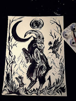 Newmoon. practice with ink
