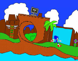 Sonic in Green Hill Zone by Silverfur15