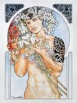 Portrait of a guy with flowers art nouveau