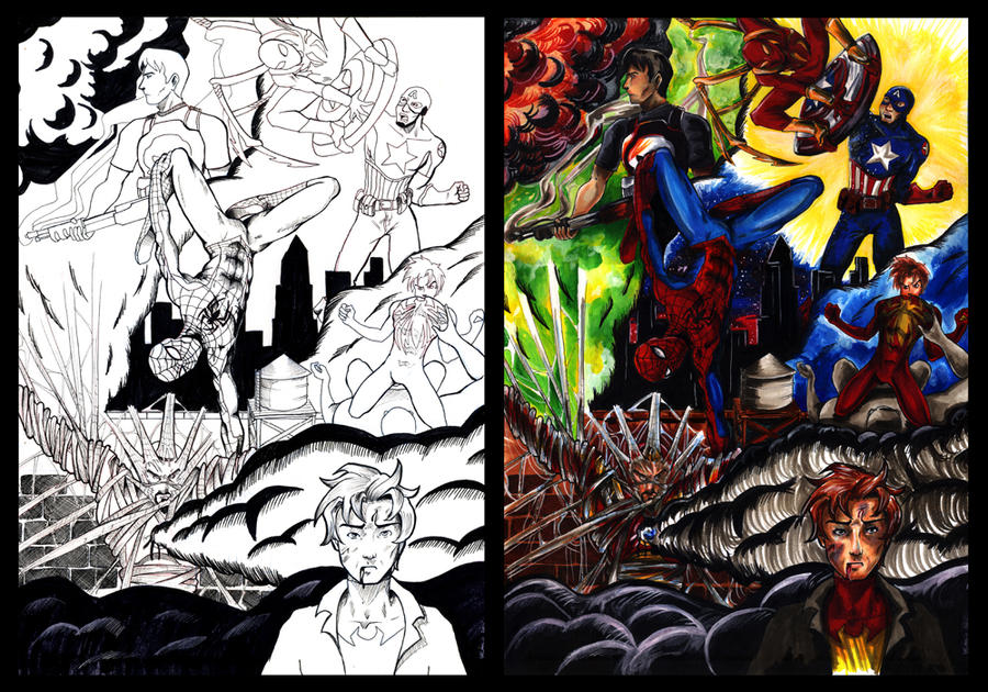 Coloring: Spider Man - Civil War by PeaceMakerSama