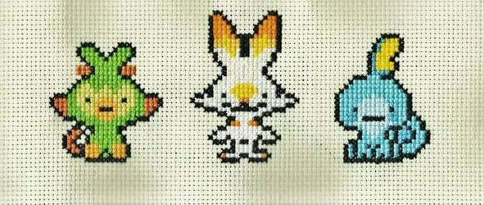 Pokemon Gen 8 Starters Cross Stitch