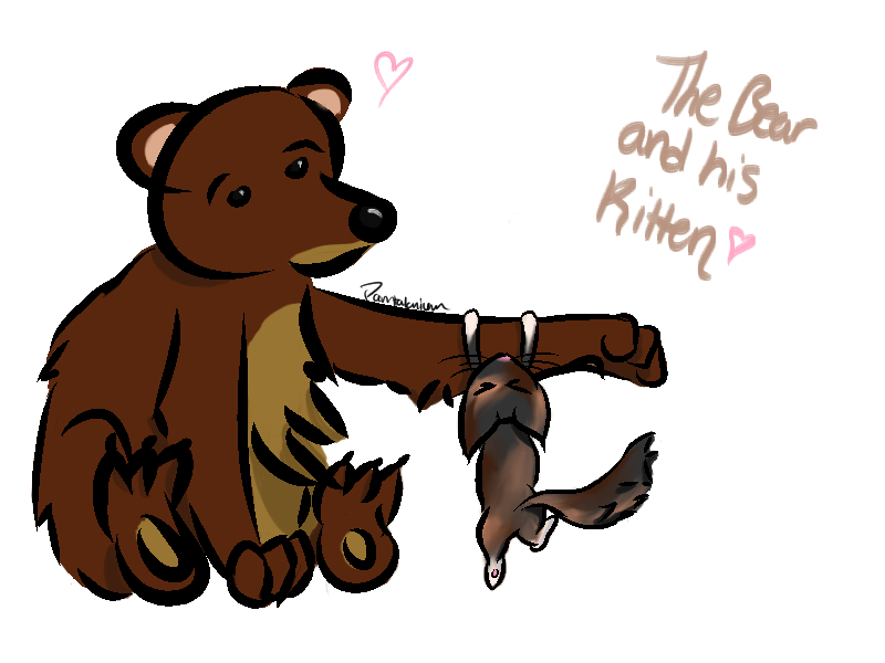 A bear and his kitten