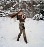 Lara Croft in winter action