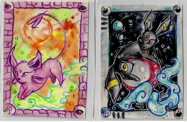 Umbreon and Espeon ACEO by LimehouseBlues