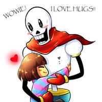 [Undertale] Hugging Papyrus by RebeccaMetroStory