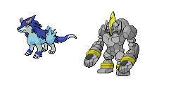 Monster Rancher: Tiger and golem sprites by BuddytheBetamon