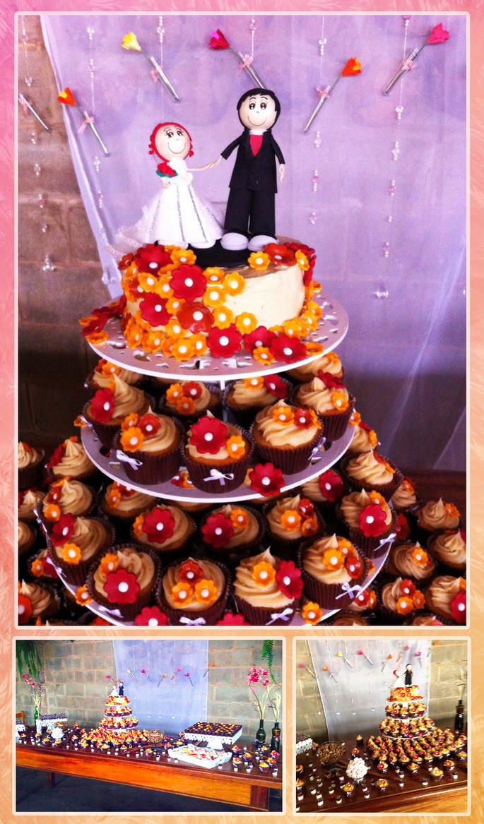 wedding Cake and cupcakes by wk-omittchi
