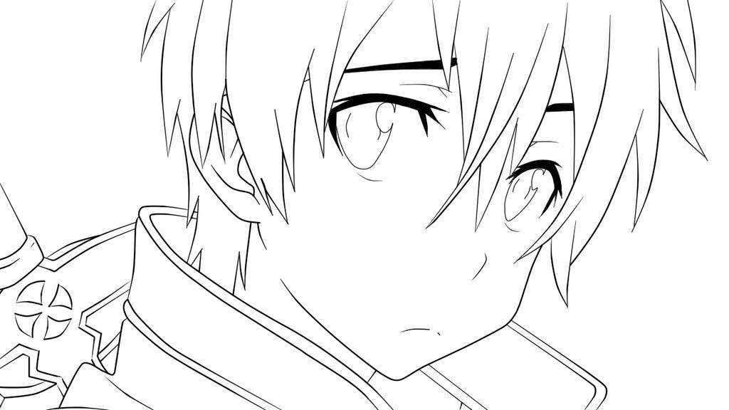 Kirito Lineart : Kirito from sword art online lineart by kimiichii on