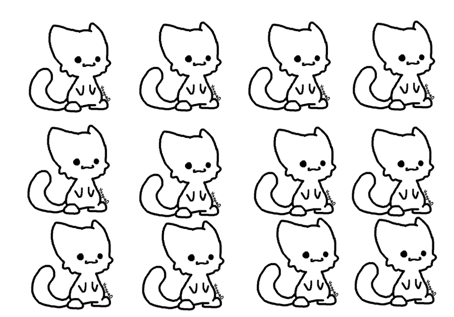 Chibi Cat Base Chibi Cat Lineart ms Paint