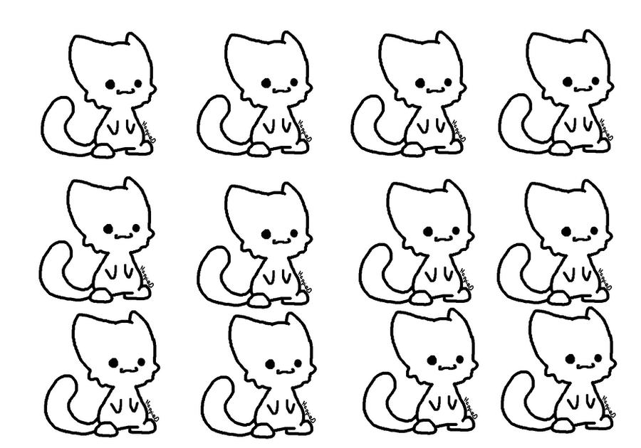 Chibi Cat Base Chibi Cat Lineart ms Paint