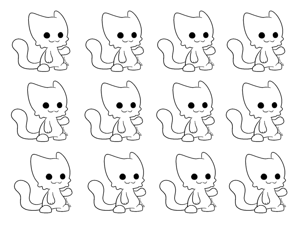 Updated Chibi Cat Lineart Ms Paint By Cocoaadopts On