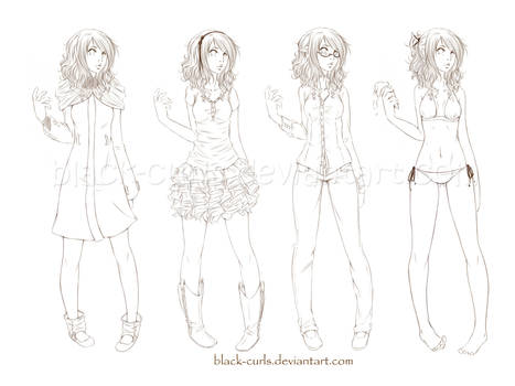 Girl outfit samples by Black-Curls