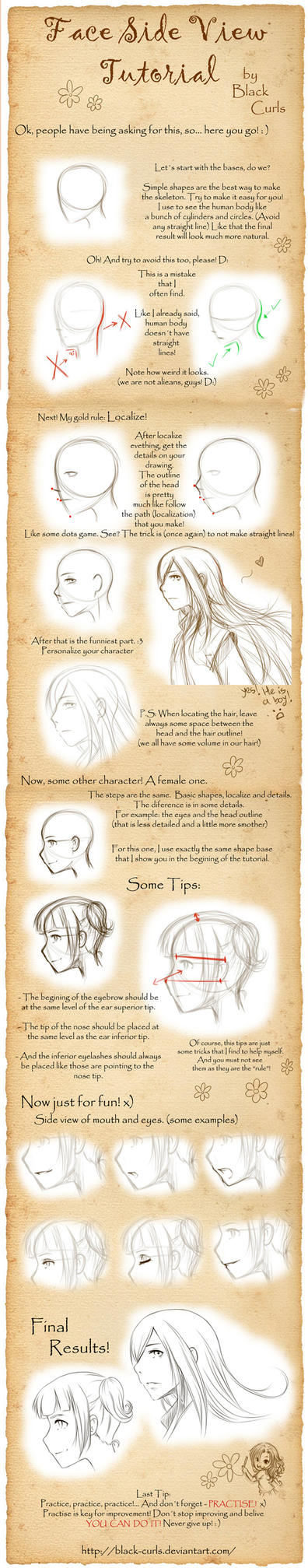 Face Side View Tutorial by Black-Curls