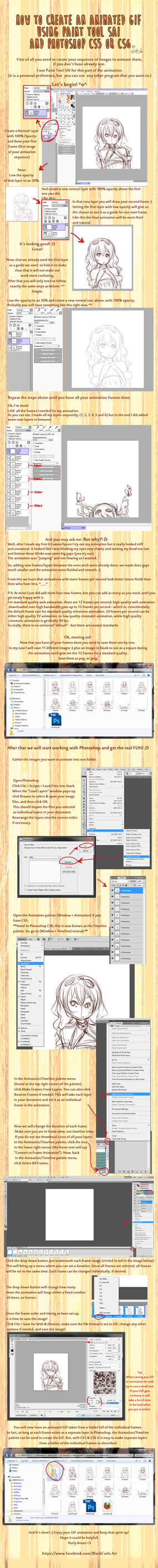 How to create an animated GIF  - SAI and Photoshop by Black-Curls