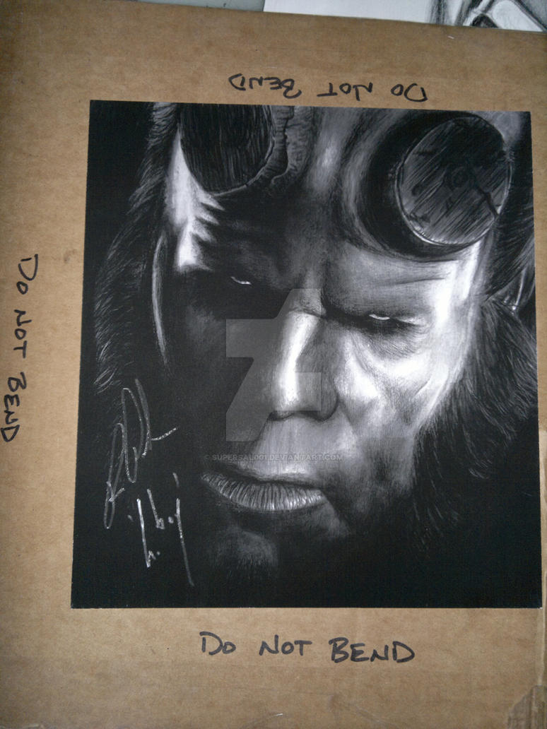 Hellboy print of my drawing signed by Ron Pearlman by SuperSal001