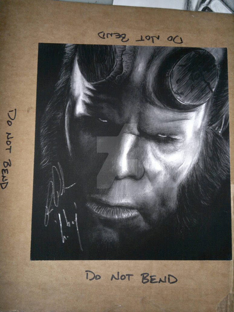 Hellboy print of my drawing signed by Ron Pearlman