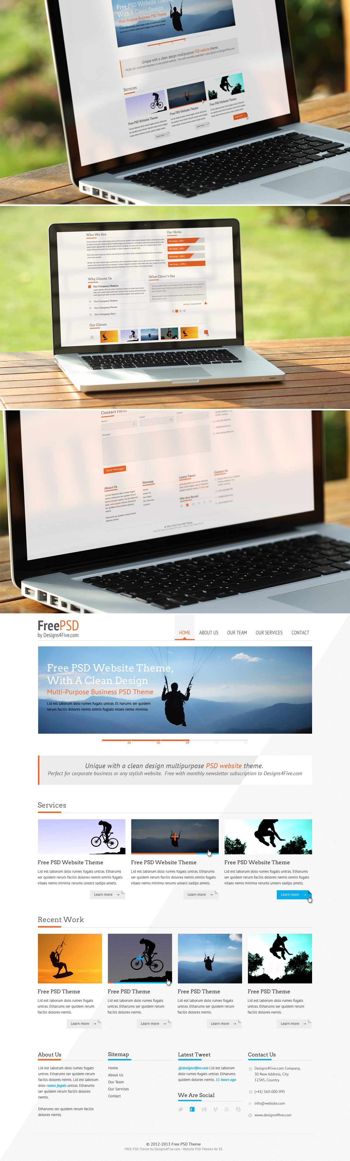 Free Website PSD Template by alwinred